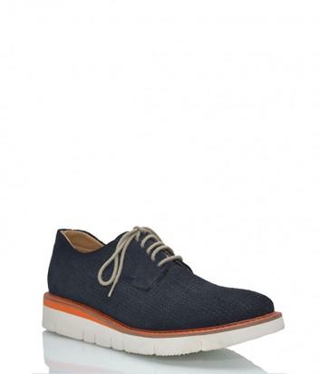 Мужские замшевые туфли Baldinini с мелкой перфорацией синие
