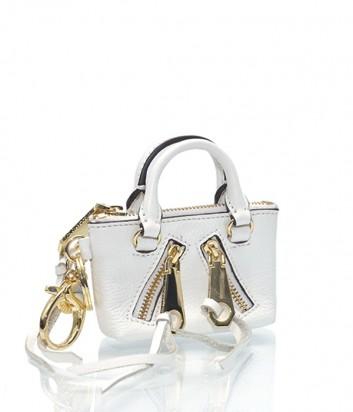 Брелок для ключей-монетница Rebecca Minkoff в виде сумочки MOTO белый