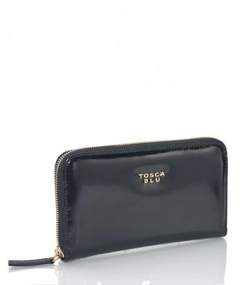 Женское портмоне Tosca Blu на молнии из полированной кожи черное