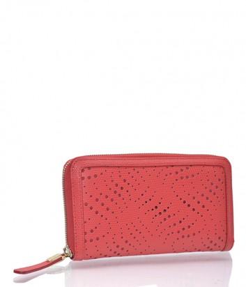 Женское портмоне Tosca Blu из перфорированной кожи красное