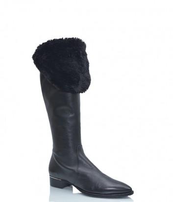 Кожаные сапоги Verdecchia & Mainqua с мехом черные