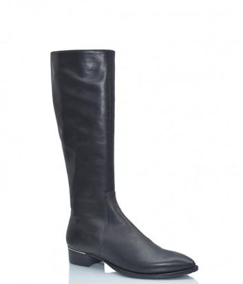 Кожаные сапоги Verdecchia & Mainqua на маленьком каблуке черные