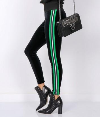 Велюровые штаны PINKO черные с зелеными лампасами