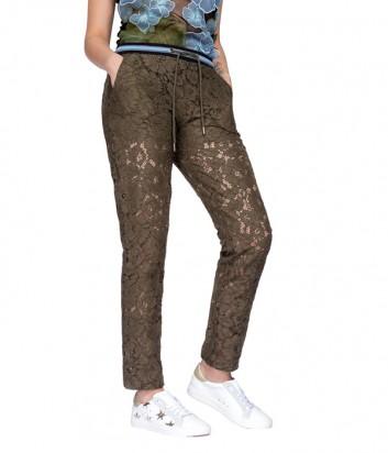 Кружевные штаны PINKO на завязках цвета хаки