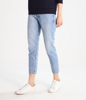Укороченные джинсы PINKO зауженные к низу голубые