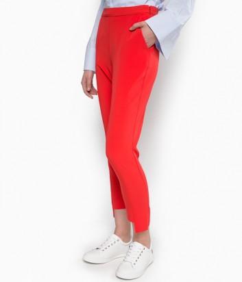Укороченные брюки PINKO с ассиметричным кроем коралловые
