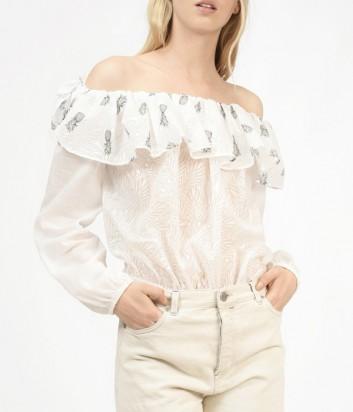 Воздушная блуза PINKO молочная с принтом тропических ананасов