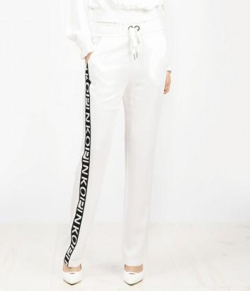 Спортивные белые штаны PINKO с надписями на лампасах
