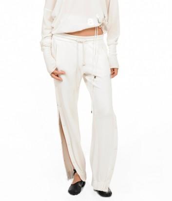 Трикотажные спортивные штаны PINKO на завязках белые