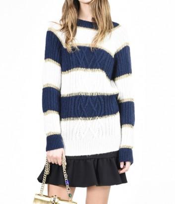 Длинный свитер PINKO с узором в сине-белую полоску