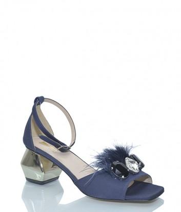 Босоножки Jeannot 55026 с перьями синие