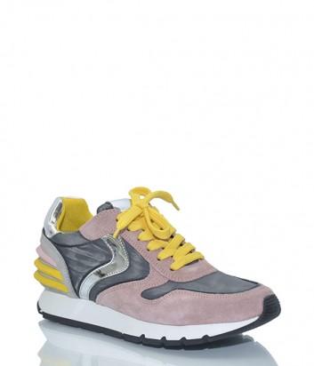 Розовые замшевые кроссовки Voile Blanche 2012266 с серыми вставками