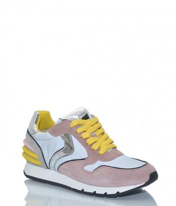 Розовые замшевые кроссовки Voile Blanche 2012266 с белыми вставками