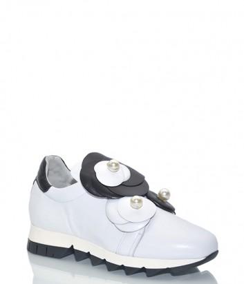 Белые кожаные кроссовки Jeannot 71200 с черными вставками