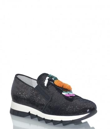 Черные кожаные кроссовки Jeannot 71205 с пайетками и яркой аппликацией