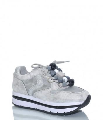 Кожаные женские кроссовки Voile Blanche 2012559 с бусинами серебристые
