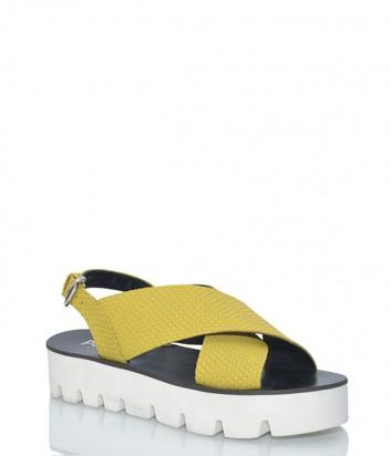Желтые кожаные босоножки Pollini 16534 на белой танкетке