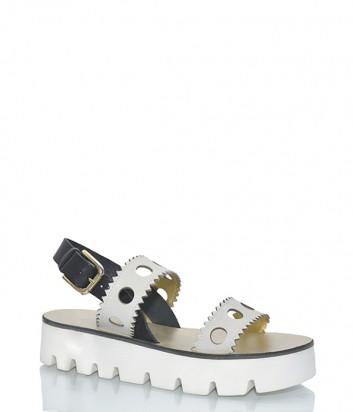 Белые кожаные сандалии Pollini 16554 с перфорированными шлейками