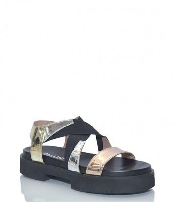 Черные кожаные сандалии Pollini 16263 с металлизированными шлейками