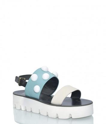 Голубые кожаные сандалии Pollini 16544 с белыми заклепками