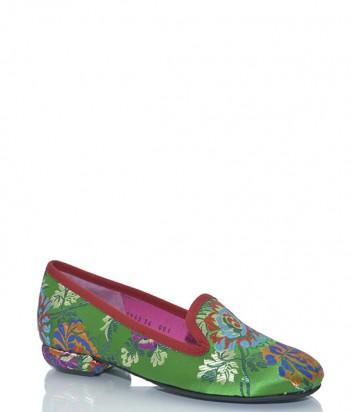 Зеленые лоферы Le Babe 1942 с яркой цветочной вышивкой
