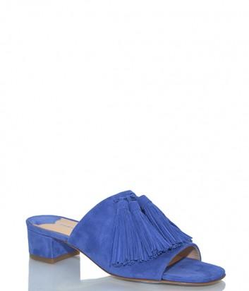 Замшевые сабо Fabio Rusconi 3606 на низком каблуке синие