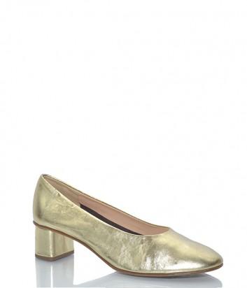 Кожаные туфли Fabio Rusconi 3629 с круглым носочком золотые