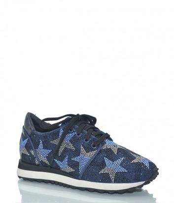 Кожаные кроссовки Lola Cruz 206Z07BK с россыпью кристаллов в виде звезд