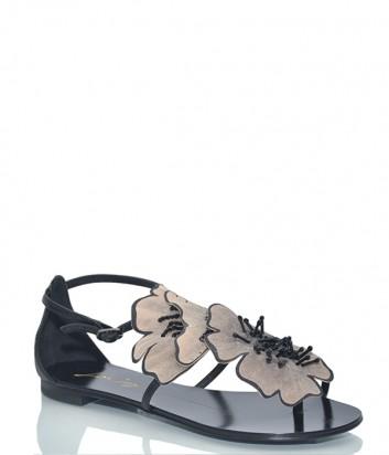 Черные кожаные сандалии Lola Cruz 034Z10BK с бежевыми цветами