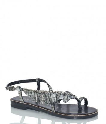 Кожаные сандалии Lola Cruz 071Z15BK с рюшами серебристые