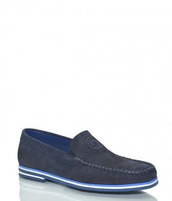 Замшевые мужские мокасины Mario Bruni 61120 перфорированные синие