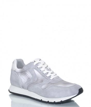 Замшевые кроссовки Voile Blanche 2012662 серые с белыми шнурками