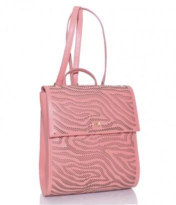 Коралловый рюкзак Cavalli Class Audrey из кожи с перфорированным узором