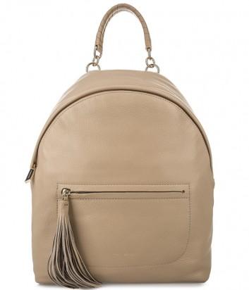Большой рюкзак Coccinelle Leonie из мягкой кожи бежевый