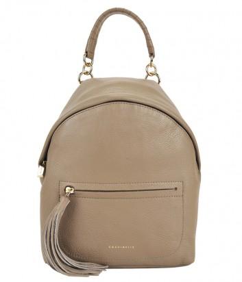 Маленький рюкзак Coccinelle Leonie из мягкой кожи бежевый