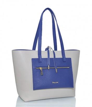 Сумка-шоппер Pollini 4505 белая с внешним синим карманом