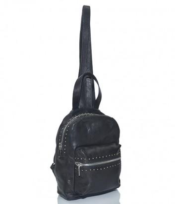 Компактный кожаный рюкзак Fru.it 7038 с внешним карманом черный