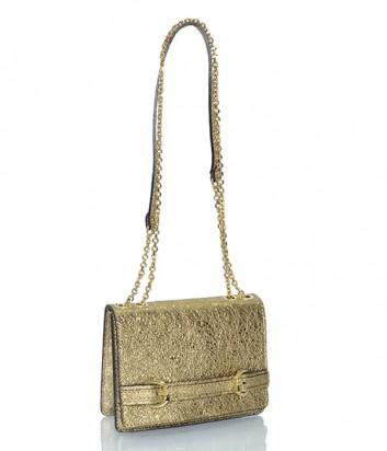 Кожаная сумочка Gianni Chiarini 6045 с металлизированным покрытием золотая