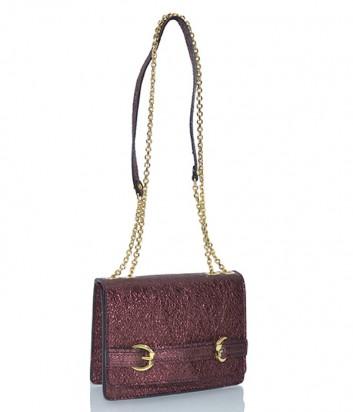 Кожаная сумочка Gianni Chiarini 6045 с металлизированным покрытием бордовая