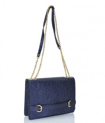 Кожаная сумочка Gianni Chiarini 6046 с глиттерным покрытием синяя