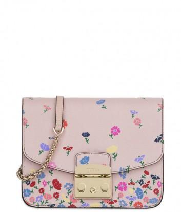 Кожаная сумка Furla Metropolis 941919 нежно-розовая в цветочек