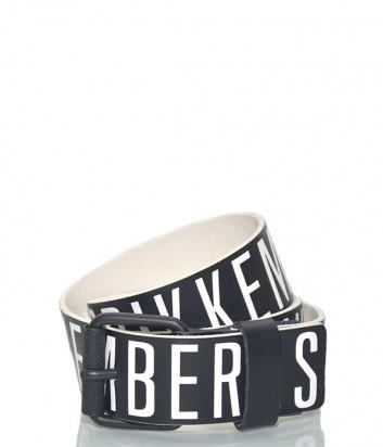 Мужской кожаный ремень Dirk Bikkembergs BD1868 черный с белыми надписями