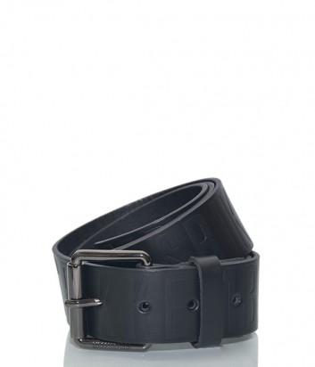 Мужской кожаный ремень Dirk Bikkembergs BD1813 с тиснением бренда черный