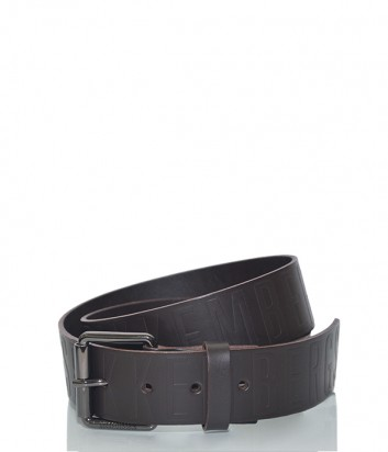 Мужской кожаный ремень Dirk Bikkembergs BD1813 с тиснением бренда коричневый