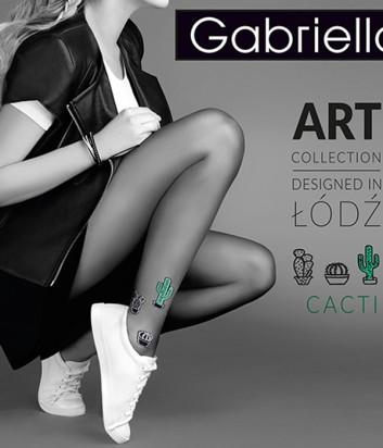 Колготки Gabriella Cacti 20 den черные с зеленым кактусом