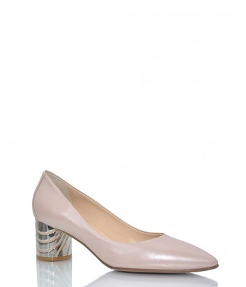 Кожаные туфли Fabio Di Luna 6984 на среднем каблуке бежевые