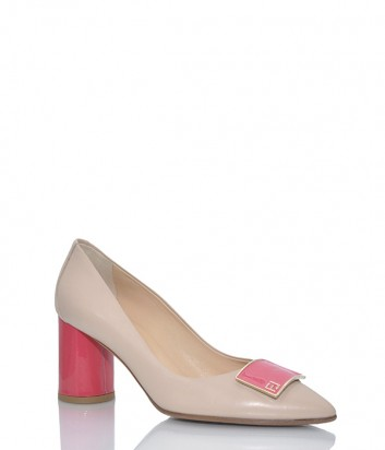 Бежевые кожаные туфли Fabio Di Luna 7008 на коралловом каблуке