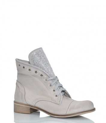 Кожаные ботинки Ermans 6722 с заклепками на язычке бежевые