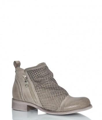 Кожаные ботинки Ermans 1664 с перфорацией бежевые