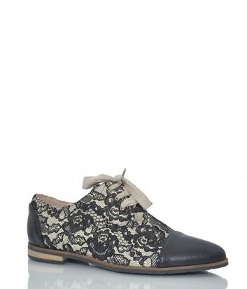 Кожаные туфли My Grey 047 с кружевом черные